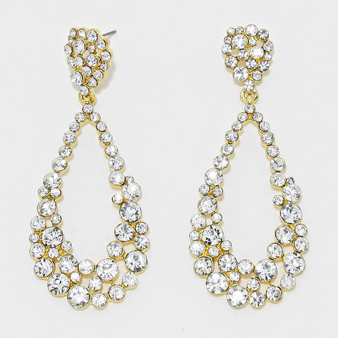Clear Gold Teardrop Cut Out Rhinestone Evening Earrings