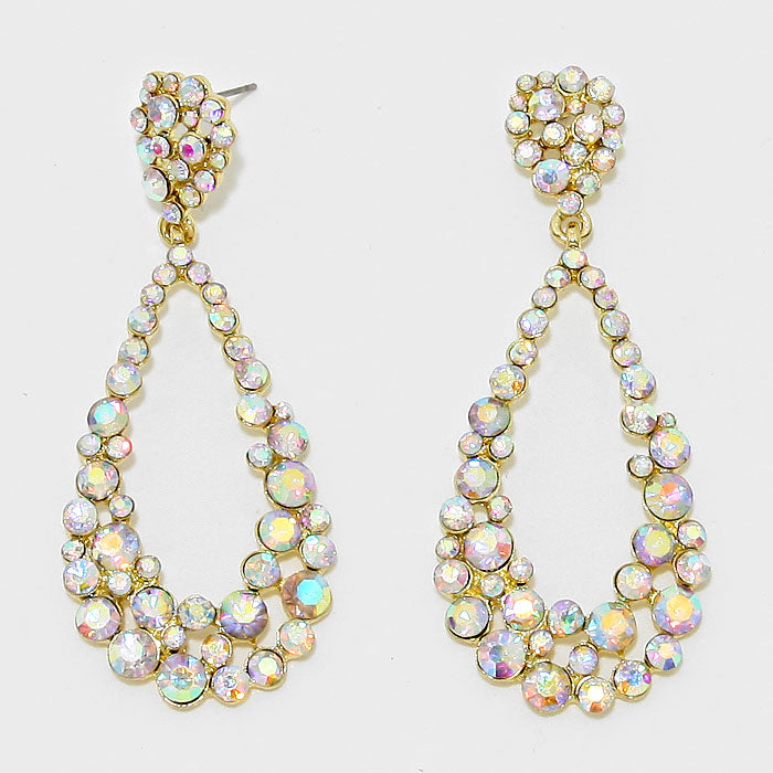 AB Teardrop Cut Out Rhinestone Evening Earrings