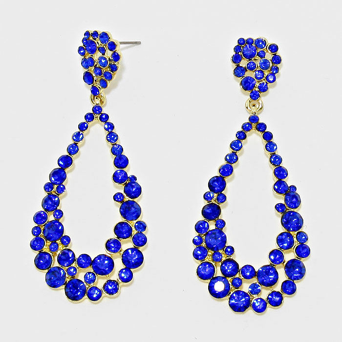 Royal Blue Teardrop Cut Out Rhinestone Evening Earrings