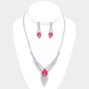 Pink Crystal Rhinestone Droplet Fringe Necklace Set