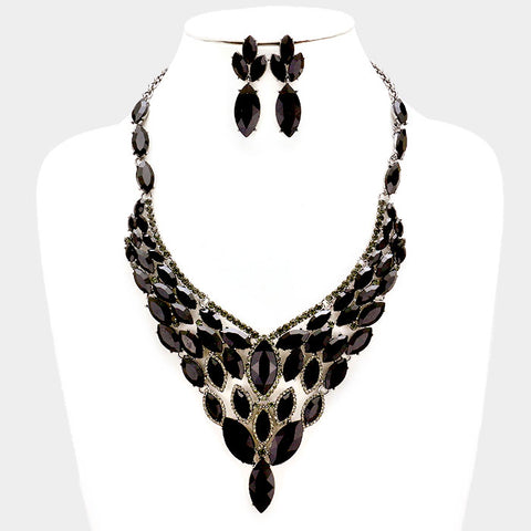 Black Crystal Rhinestone Marquise Evening Necklace Set