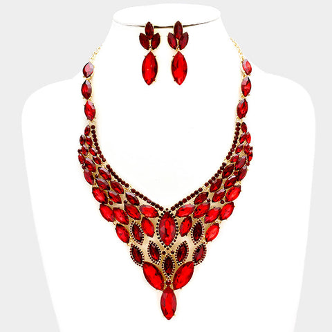 Red Crystal Rhinestone Marquise Evening Necklace Set