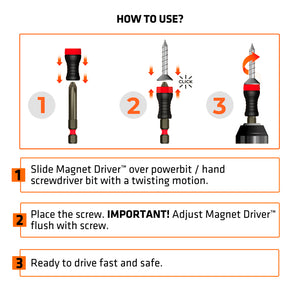 MAGNETDRIVER BLISTER B50 - The Revolutionary Magnetic Bitholder to Drive Screws Fast and Safe