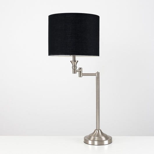 Sinatra Satin Nickel Swing Arm Table Lamp With Black Shade