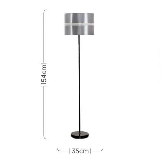 Charlie Black Stemmed Floor Lamp With Grey Diamante Shade