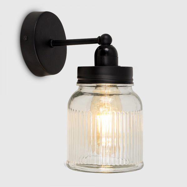 Cambourne Black Steampunk Wall Light With Jam Jar Shade