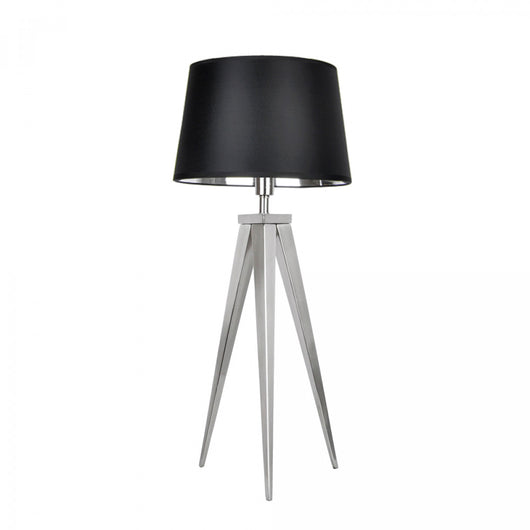 Caligula Satin Nickel Tripod Table Lamp with Black and Chrome Shade