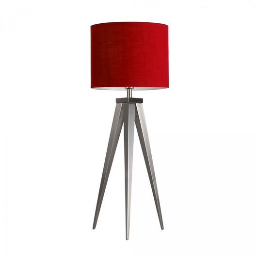 Caligula Satin Nickel Tripod Table Lamp with Red Drum Shade