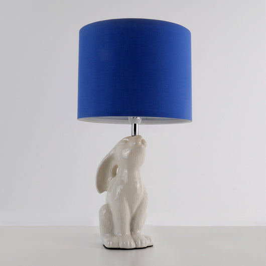 Rabbit Cream Ceramic Table Lamp With Blue Drum Shade