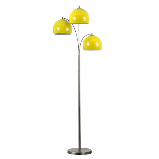 Dantzig Satin Nickel 3 Arm Floor Lamp with Yellow Dome Shades