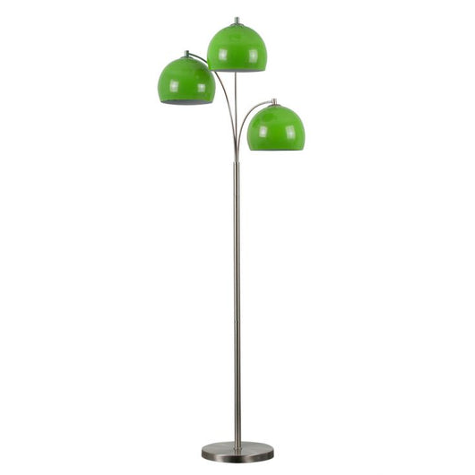 Dantzig Satin Nickel 3 Arm Floor Lamp with Green Dome Shades