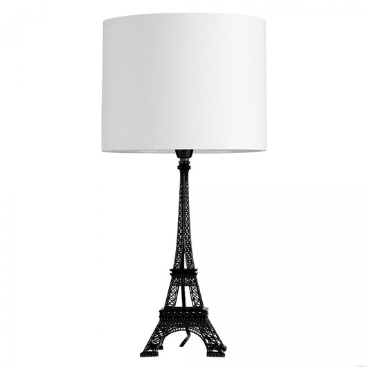 Eiffel Tower Black Table Lamp with White Drum Shade