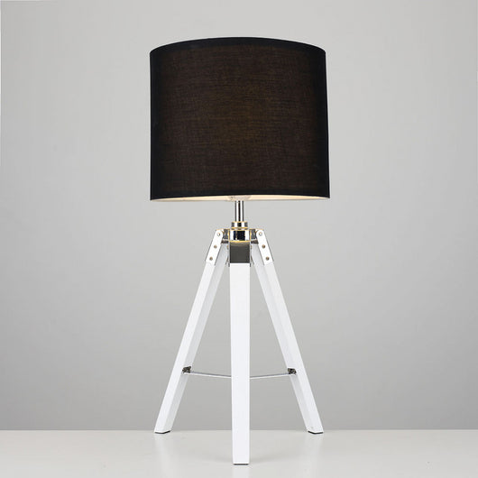 White 'Marine' Tripod Table Lamp, Black Shade