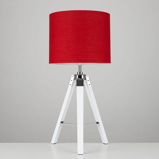 White 'Marine' Tripod Table Lamp, Red Shade