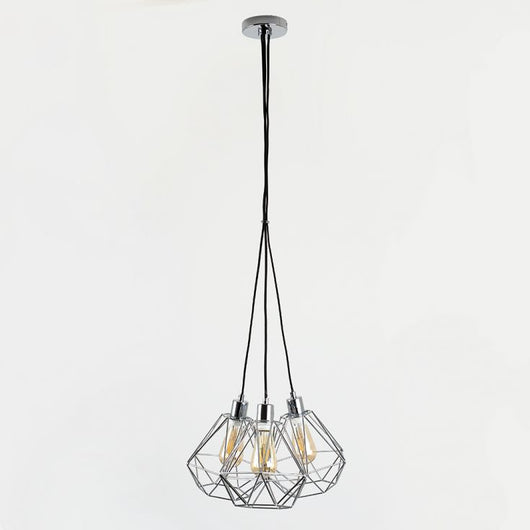 Eyre 3-Way Pendant in Chrome with Diablo Shades in Chrome