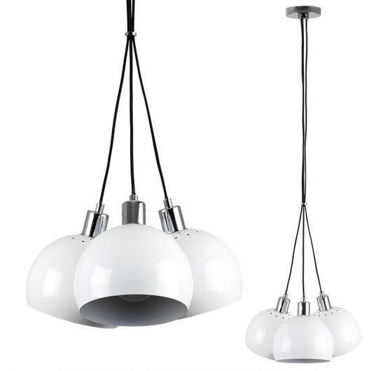 Eyre 3 Way Pendant in Chrome with Mini Arco Shades in White
