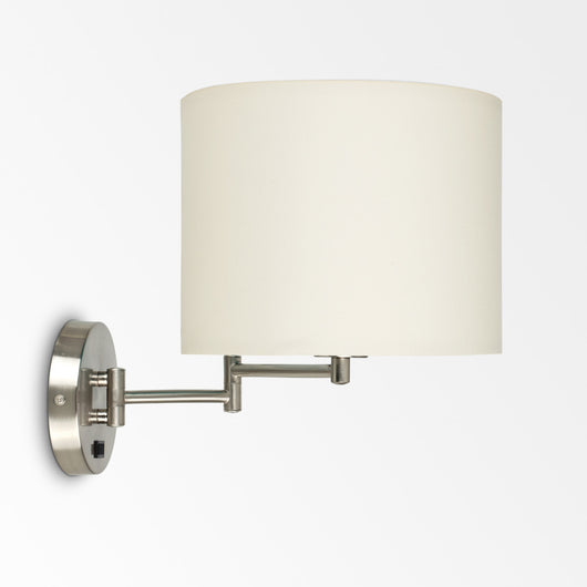 Sinatra Satin Nickel Swing Arm Wall Light With Beige Shade