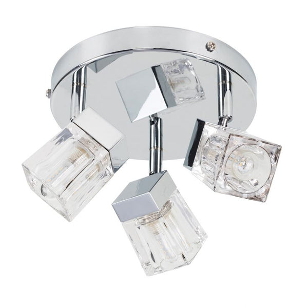 3-Way IP44 Ice Cube Bathroom Spotlight in Chrome