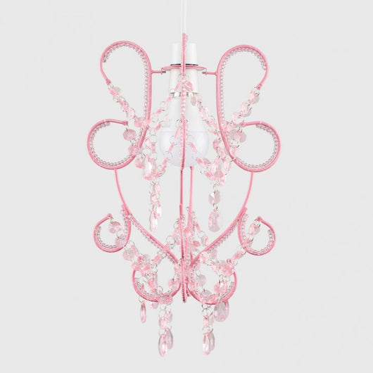 Wire Beaded Pendant Shade in Pink