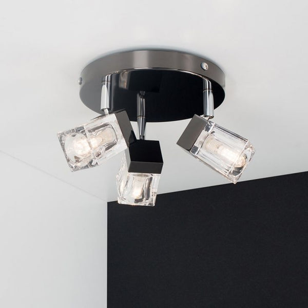 3-Way IP44 Ice Cube Bathroom Spotlight in Black Chrome
