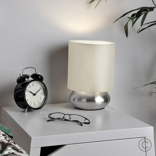 Pair of Satin Nickel Touch Table Lamps with Cream Shades