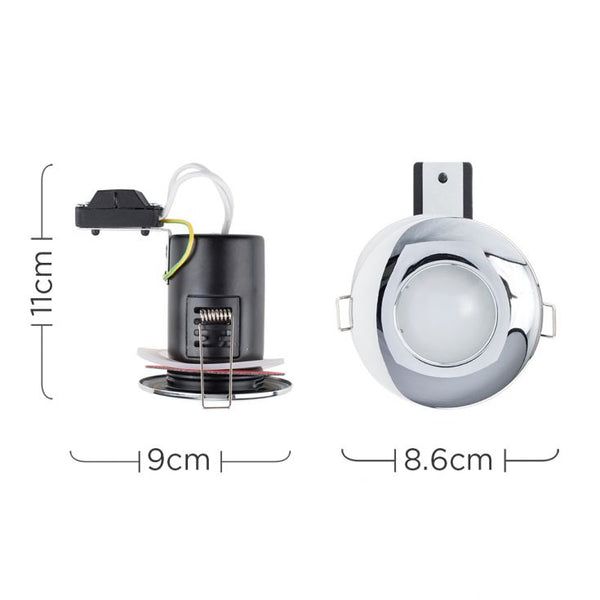 MiniSun Domed Bezel IP65 Fire Rated Bathroom Downlight in Chrome