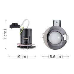 MiniSun Domed Bezel IP65 Fire Rated Bathroom Downlight in Black Chrome