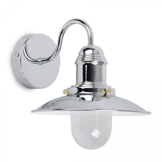 Industrial Style Fisherman's Wall Light in Polished Chrome