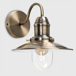Industrial Style Fishermans Wall Light in Antique Brass