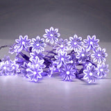 Set of 20 Decorative Sunflower LED Fairy Lights in Purple - Battery Operated