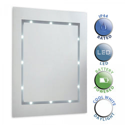 Modern Slim LED Battery Operated Illuminating Rectangular Design Bathroom Mirror - IP44 Rated