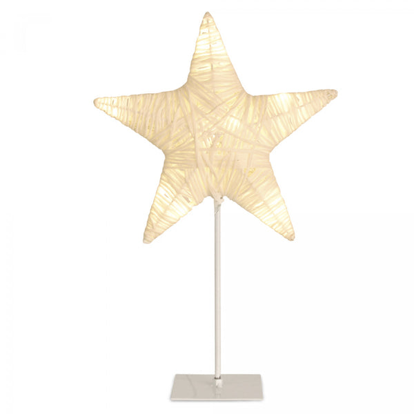 Vintage Paper Twine Star Light with 10 Warm White LEDs - Battery Operated