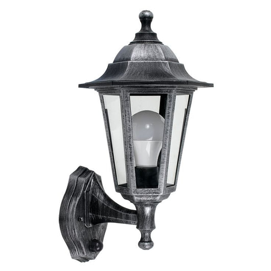 Mayfair IP44 Outdoor Lantern with PIR Sensor in Brushed Silver