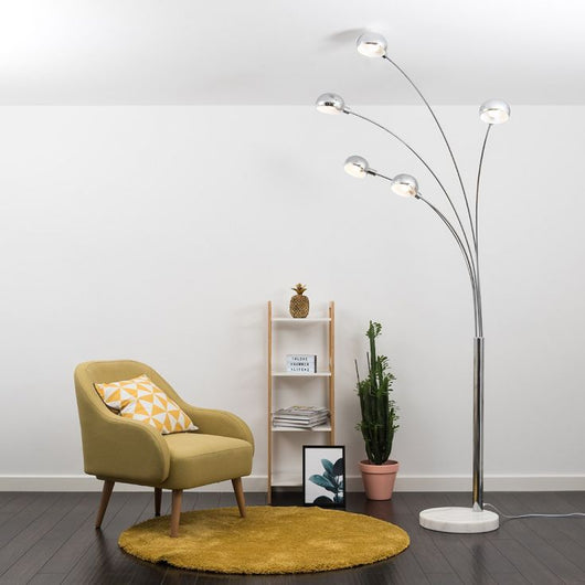 Curva Chrome Floor Lamp with White Marble Base
