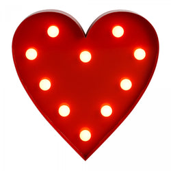 Decorative Heart Shaped Wall Hanging Light with 10 Warm White LEDs - Battery Operated