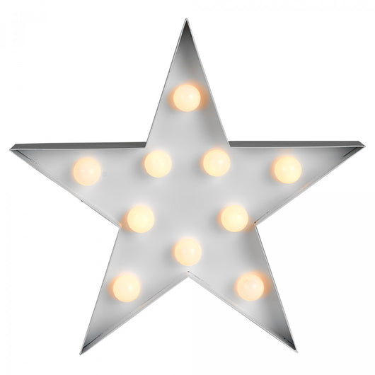 Decorative Star Shaped Wall Hanging Light with 10 Warm White LEDs - Battery Operated