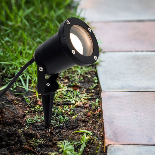 IP65 Outdoor Black Ground Spike/Wall Light in Black