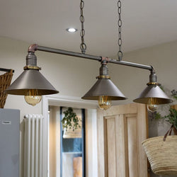Steampunk Style 'Corinthia' 3 Way Over Table Light in Aged Brass Finish