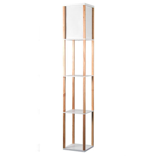 Wooden Shelving Unit Floor Lamp With Fabric Shade in Oak