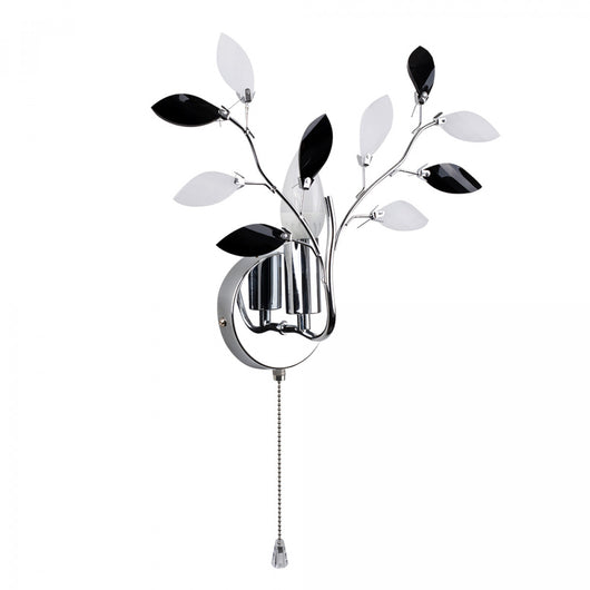 Medusa Chrome Wall Light With Black and Frosted Glass Leaves