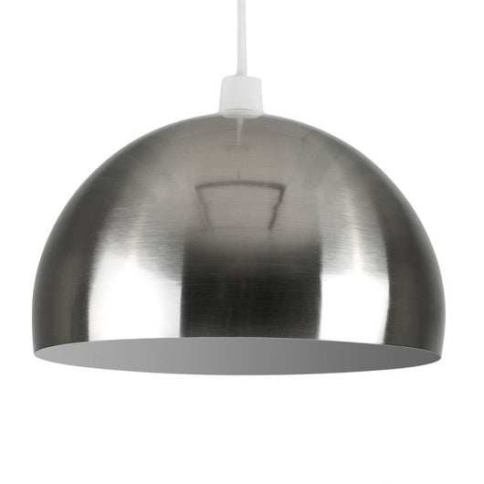 Curva Pendant Shade in Brushed Chrome with White Interior
