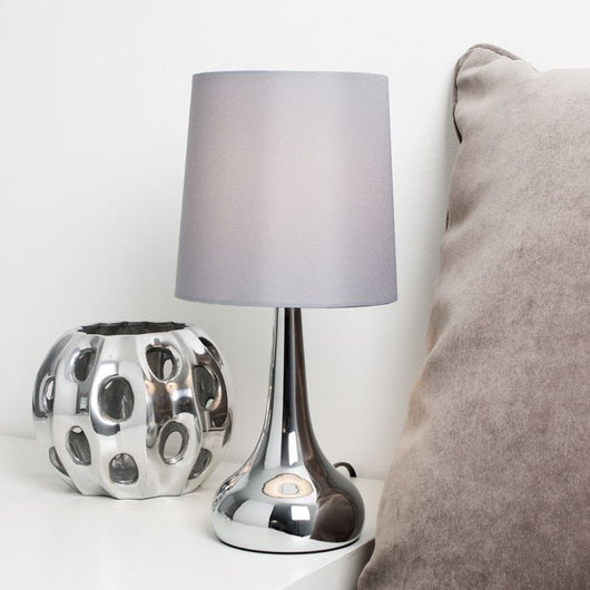 Pair of Chrome Teardrop Touch Table Lamps With Grey Shades