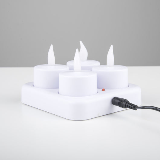 Set Of 4 Rechargable Flicker LED Tea Lights