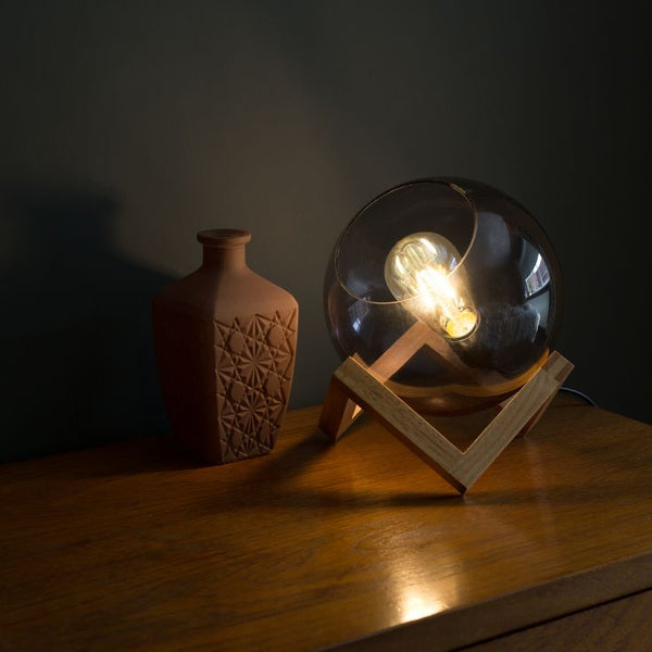 Cruz Glass Globe with Wood Stand Table Lamp