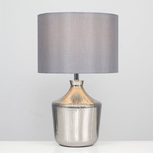 Penrith Silver Grid Table Lamp with Grey Shade
