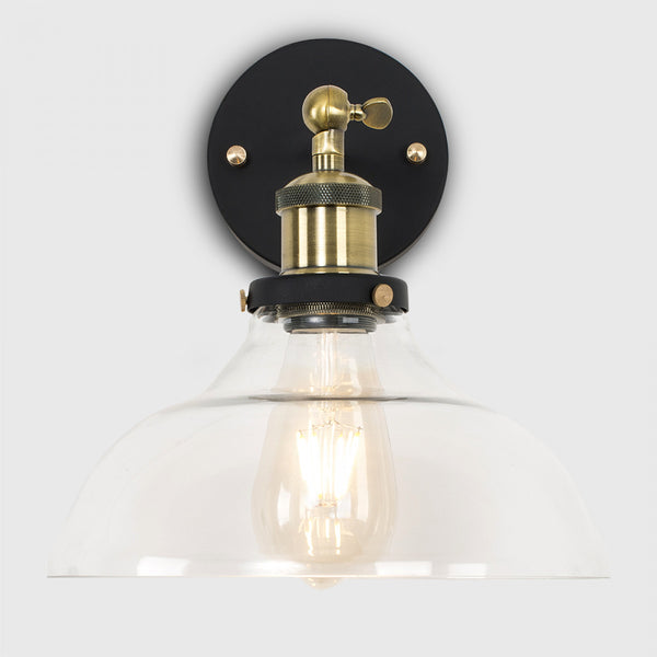 Wallace Steampunk Wall Light with Glass Shade