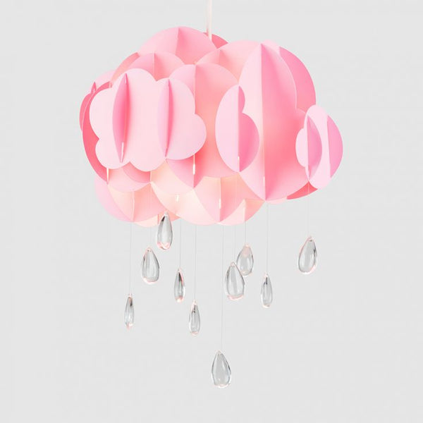 Childrens Cloud and Raindrop Pendant Shade in Pink