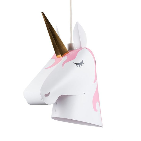 Childrens White and Pink Unicorn Pendant Shade with Gold Horn