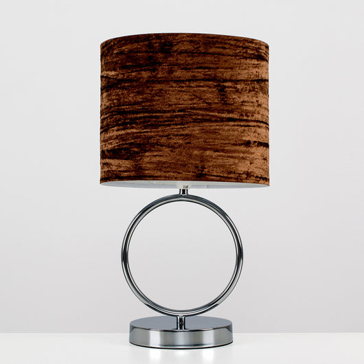 Lavoisier Black Chrome Hoop Touch Table Lamp with Brown Velvet Shade