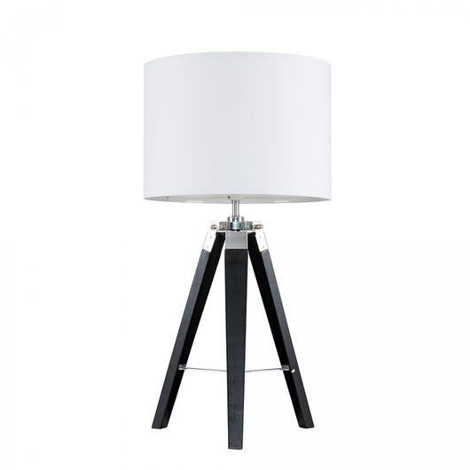 Clipper Black Wood and Chrome Table lamp with White Shade